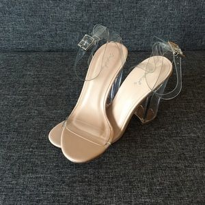 Clear/nude Chunky Heeled Sandals